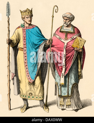 Holy Roman Emperor Henry II (the Saint) and a French bishop. Hand-colored print - Stock Photo