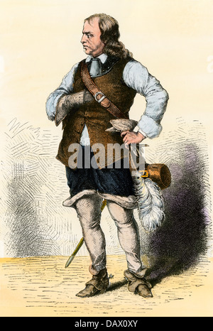 Lord Protector Oliver Cromwell. Hand-colored woodcut - Stock Photo