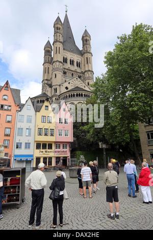 Gross St. Martin Church, Martinsviertel Altstadt historic Old Town of Cologne, Germany - Stock Photo