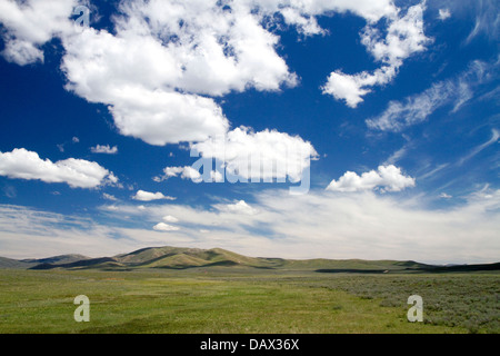 Cumulus clouds and blue sky over green fields near Pine, Idaho, USA. - Stock Photo