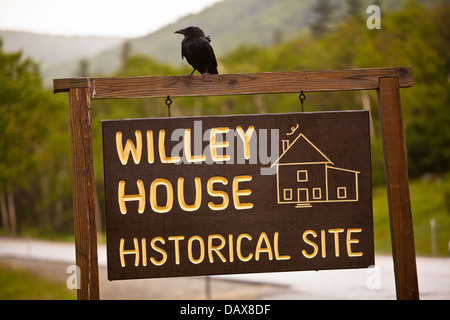 Willey House historical Site is pictured in the Crawford Notch State Park is seen in New Hampshire - Stock Photo