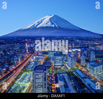 Skyline of Mt. Fuji and Yokohama, Japan. - Stock Photo