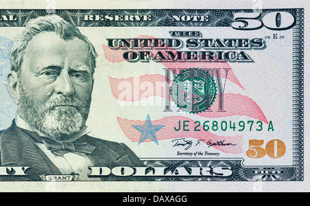 closeup fifty dollars bill fragment - Stock Photo