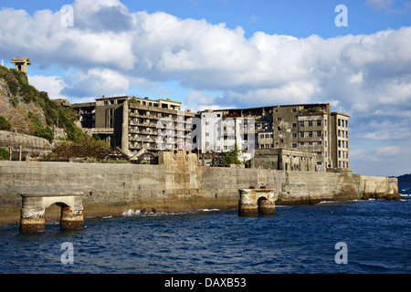 Gunkanjima abandoned island of Japan. - Stock Photo