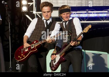 London, UK. 19th July, 2013. London, UK: McFly headline the Go Local concert in London's Queen Elizabeth Olympic - Stock Photo