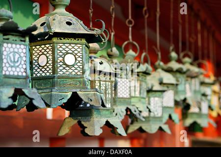Buddhist temple lanterns at Kasuga-Taisha Shrine in Nara, Japan. - Stock Photo