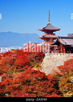 Kiyomizu-dera pagoda with fall colors in Kyoto, Japan. - Stock Photo