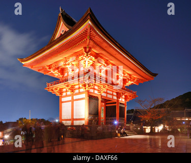 Kiyomizu-dera gate at night in Kyoto, Japan. - Stock Photo
