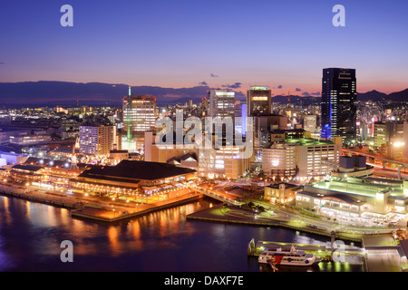 Kobe, Japan downtown cityscape at the port. - Stock Photo
