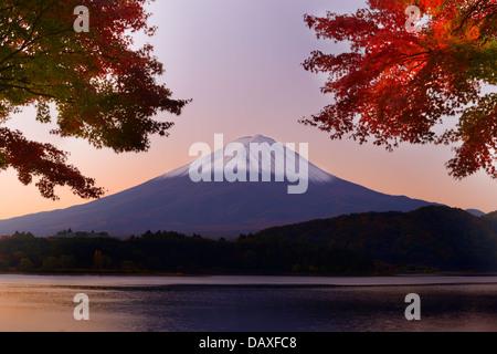 Mt. Fuji and autumn foliage at Lake Kawaguchi. - Stock Photo