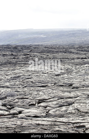 Barren lava field covering the township of Kalapana, on the Big Island of Hawaii. - Stock Photo