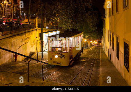A night shot of the famous tourist attraction in Lisbon the Gloria funicular transportation connecting from Baixa - Stock Photo
