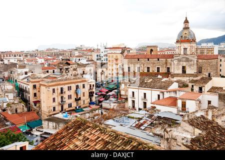 View over Ballaro markets, Palermo, Sicily, Italy - Stock Photo
