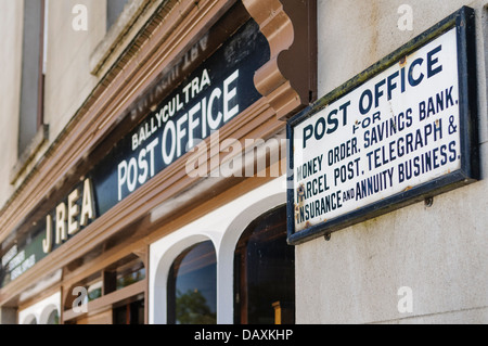 Old fashioned Victorian style Irish Post Office at the Ulster Folk and Transport Museum. - Stock Photo