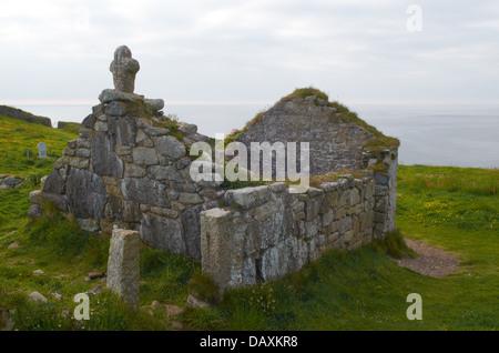St Helen's Chapel Remains - Cape Cornwall, England, UK - Stock Photo