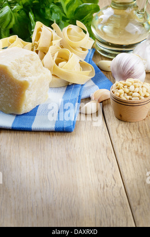 Ingredients for making pesto sauce with copy-space - Stock Photo