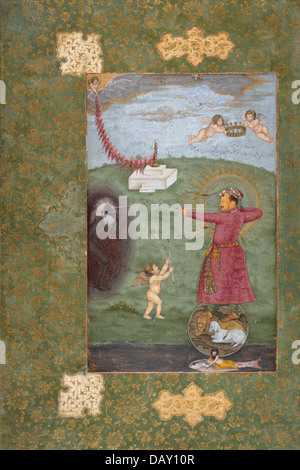Emperor Jahangir Triumphing Over Poverty M.75.4.28 (1 of 2) - Stock Photo