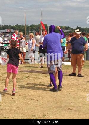 Volunteer entertaining crowds at Preston Riversway Festival July 2013. Credit:  Sue Burton/Alamy Live News - Stock Photo