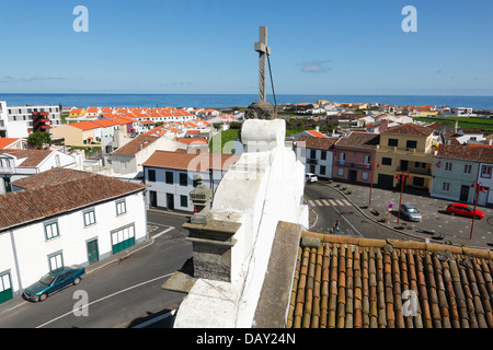 View of the parish of Ribeira Seca, in the municipality of Ribeira Grande, from the church tower. Sao Miguel, Azores, - Stock Photo