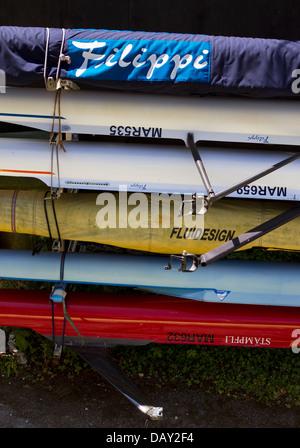 Boats stored at Marlow Boat Club, Buckinghamshire. - Stock Photo