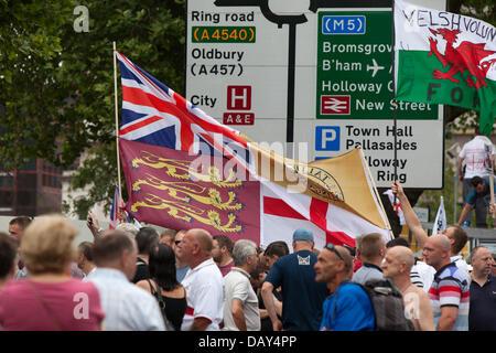 Birmingham, UK. 20th July 2013. The EDL in Birmingham city centre. Credit:  Chris Gibson/Alamy Live News - Stock Photo