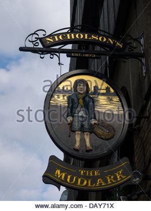 Beer Beggar Boy Dirty Drink Drinking House London England UK London England UK Pub Sign The Mudlark Public Small - Stock Photo