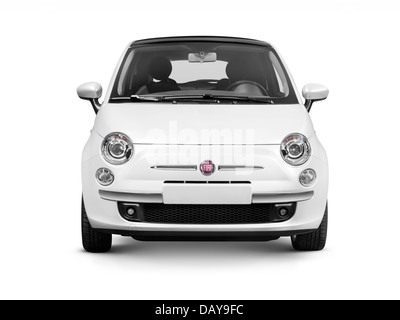White 2010 Fiat Nuova 500 small city car front view isolated on white background with clipping path - Stock Photo