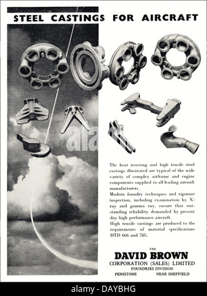 Advert for aircraft steel castings by The David Brown Corporation Limited Penistone Sheffield England UK suppliers - Stock Photo
