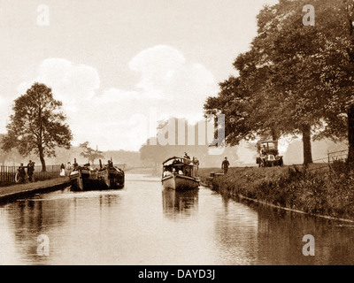 Worsley Lord Ellesmere's Barge on the Bridgewater Canal Victorian period - Stock Photo