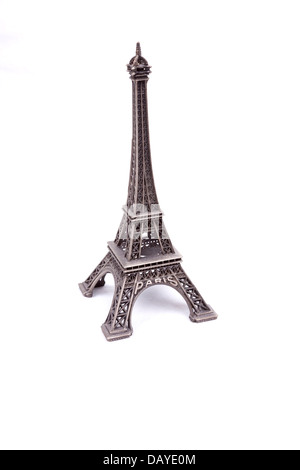 Eiffel Tower isolated on white background - Stock Photo