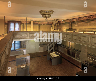 Hall in the Old Synagogue in Erfurt, Thuringia, Germany - Stock Photo