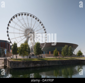 the Wheel of Liverpool quayside view from Salthouse Docks Arena ferris wheel early morning before tourists - Stock Photo