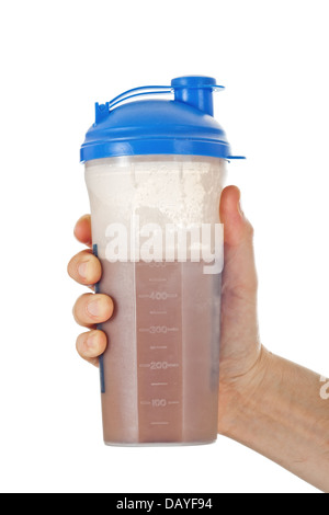 Man's fist holding the post workout chocolate whey protein shake, ready to drink it, isolated on white - Stock Photo