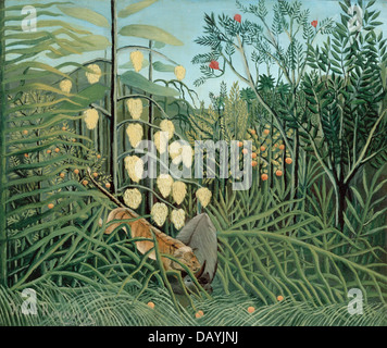 Henri Rousseau - Le Douanier Rousseau In a tropical forest - struggle between tiger and bull 1908 - Stock Photo