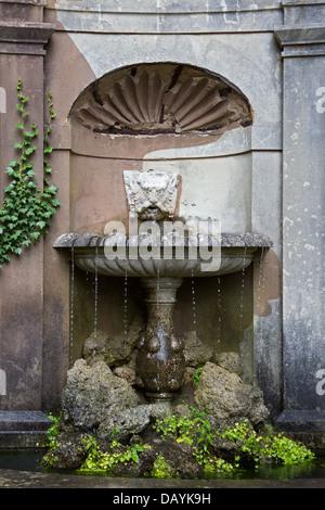 West Green House Garden Nymphaeum: detail of fountain