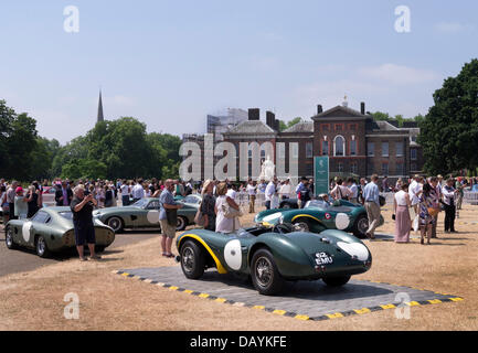 London, UK. 21st July, 2013. Historic Aston Martin racing cars at Aston Martin Centenary event in Kensington Gardens - Stock Photo