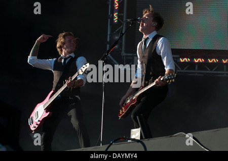 Dougie Poynter (L) and  Tom Fletcher (R) of multi platinum selling band McFly perform at Go Local, London. On 19th - Stock Photo