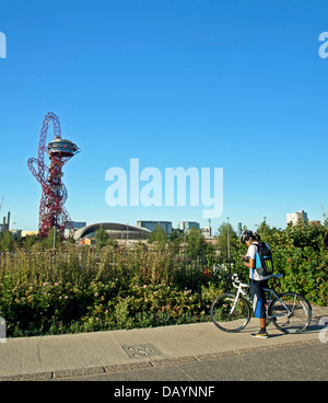 View of the ArcelorMittal Orbit in the Olympic Park, Stratford, East London, England, United Kingdom - Stock Photo
