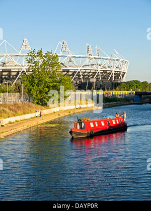 View of Stratford's Olympic Stadium across the River Lea (Lee) Navigation in Hackney Wick - Stock Photo