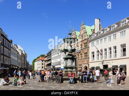 Old Amagertorv Square and Stork Fountain (Storkespringvandet) busy with people. Amager Torv Strøget Copenhagen Zealand - Stock Photo