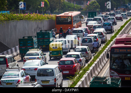 Traffic in New Delhi, India - Stock Photo