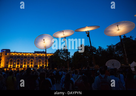 Cie Off company with their show Paraboles during Fifth B-FIT International Street Theater Festival in Bucharest, - Stock Photo