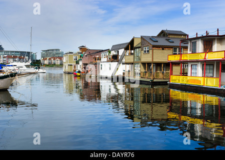 Fisherman's Wharf is a colourful float home community located just ten minutes walk from the Inner Harbour of Victoria, - Stock Photo