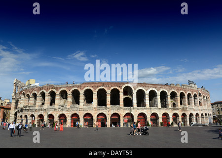 Verona Italy The Verona Arena (Arena di Verona) a Roman amphitheatre in Piazza Bra in Verona Italy - Stock Photo