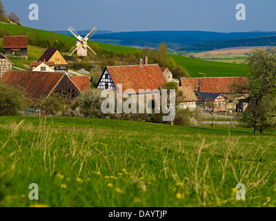 Open air museum Hohenfelden with windmill, Hohenfelden Ilmkreis, Thuringia, Germany - Stock Photo