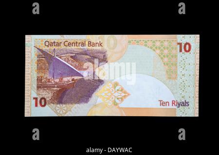 Qatari Ten-Riyal Banknote, Back Side. - Stock Photo