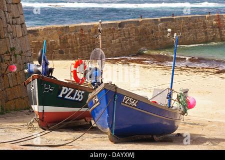 """PZ 155 """"Sarah Jane"""" and PZ 564 'Tamara' shellfish boats at Sennen Cove, Cornwall - Stock Photo"""