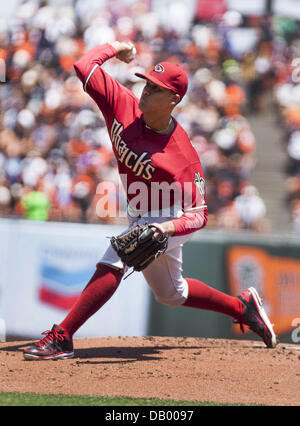 San Francisco, CA, USA. 21st July, 2013. Arizona Diamondbacks pitcher Randall Delgado gets the win over the San - Stock Photo