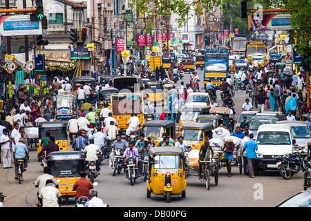 Busy street in Madurai, India - Stock Photo