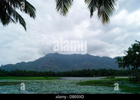 Clouds on Monsoon Season at Western Ghats Hills , Tamil Nadu, India - Stock Photo